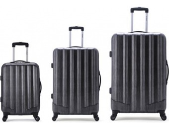 $373 off Rockland Luggage 3 Pc Metallic Upright Set, Carbon