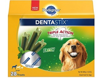 54% off Pedigree DentaStix Large Dog Chew Treats, Fresh, 28 Treats