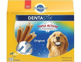 70% off Pedigree DentaStix Large Dog Chew Treats, Original, 32 Treats