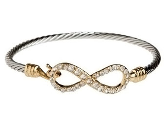 "49% off RAIN ""Infinity"" Gold & Silver-Tone Crystal Bangle Bracelet"