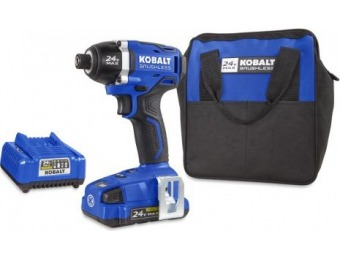 48% off Kobalt 24-Volt Lithium Ion 1/4-in Cordless Impact Driver with Soft Case KID 1324A-03
