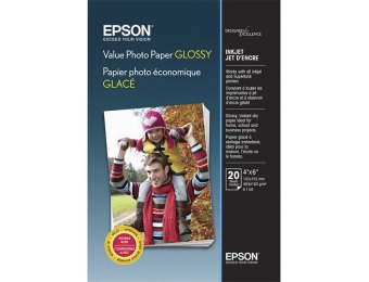 "60% off Epson Value Glossy Photo 4"" x 6"" 20-Count Paper"