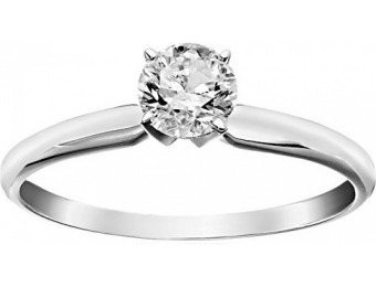 $982 off 14k Round Solitaire White Gold Engagement Ring (1/2carat)