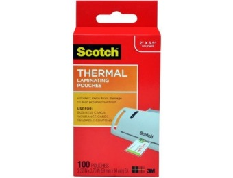 "79% off Scotch Thermal Laminating Pouches 2.32"" x 3.70"", 100-Pack"