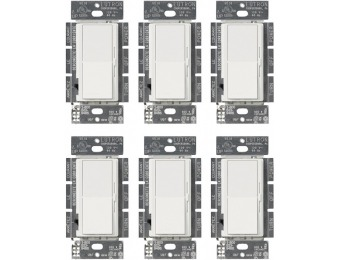 88% off Lutron Diva 150-Watt Single-Pole/3-Way LED/CFL Dimmer, White (6-Pack)