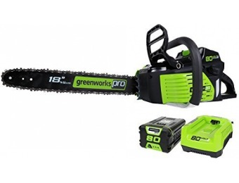 85% off GreenWorks Pro GCS80420 Cordless Chainsaw, 2Ah Li-Ion Battery and Charger Included