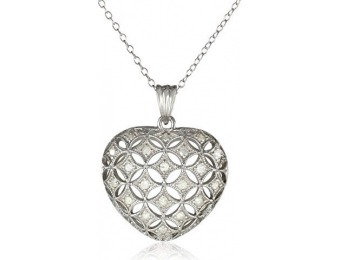 94% off Sterling Silver Diamond Heart Pendant Necklace