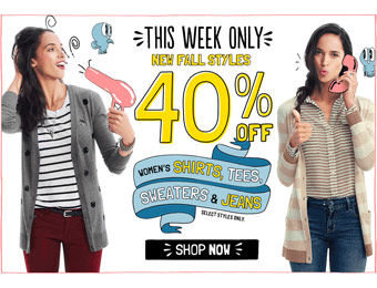 40% off Women's Shirts, Tees, Sweaters & Jeans at Old Navy