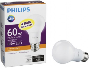 50% off Philips 800-Lumen, 8.5W A19 LED Light Bulb, 60W Equivalent (4-Pack)