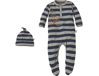 33% off Burts Bees Baby Newborn Boys Striped Bee Henley Coverall