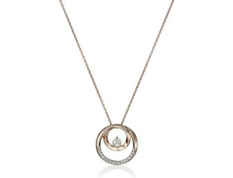 94% off Sterling Silver Pink Gold Plating Diamond Circle Necklace