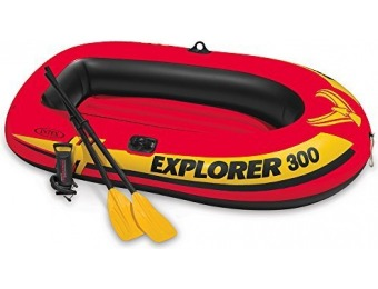 66% off Intex Explorer 300 3-Person Inflatable Boat Set with French Oars and High Output Air Pump