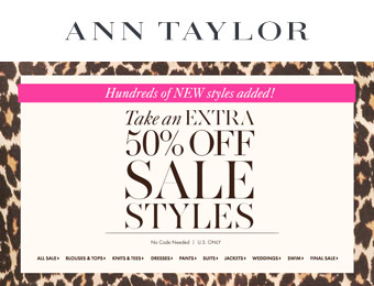 Extra 50% off Sale Styles at Ann Talyor