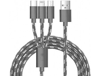70% off J2CC 3-in-1 Multi USB Cable, Lighting/Micro USB/Type C