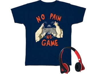 75% off Audio Council No Pain No Game Boys Tee + Headphones