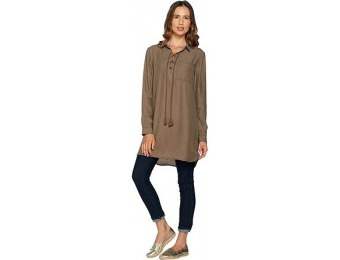 49% off Du Jour Long Sleeve Lace Front Tencel Tunic with Tassles