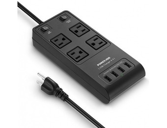 61% off Poweradd Surge Protector Power Strip (4 Outlets & 4 USB)