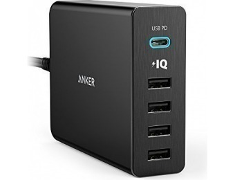 55% off Anker Premium 5-Port 60W USB Type-C Wall Charger