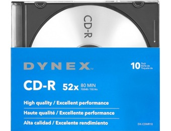 80% off Dynex 10-Pack 52x CD-R Discs with Jewel Cases