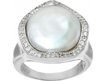 73% off Honora Cultured Pearl 13.5mm Baroque & White Topaz Sterling Ring