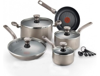 31% off T-Fal Excite 14-Pc Platinum Shimmer Non-Stick Cookware Set