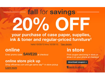 OfficeMax Coupon: Save 20% off Office Supplies & More