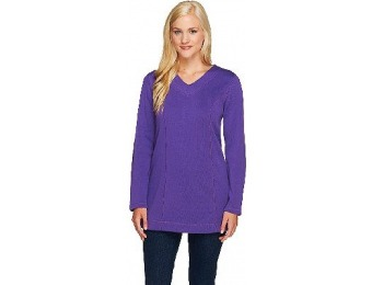 77% off Denim & Co. Essentials Flat Back Rib Tunic w/ Stitching