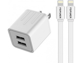 66% off Fast Charging 21W Wall Charger w/ 2x 6' Lighting Cables