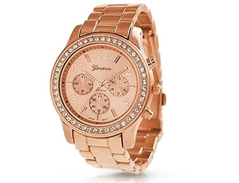 86% off Geneva Rose Gold Plated Classic Round CZ Ladies Watch