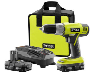 $91 off Ryobi 18-Volt One+ Lithium-Ion Drill Kit