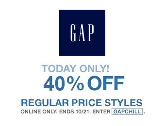 40% off Regular Price Styles at Gap.com