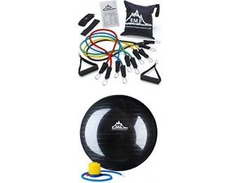 55% off Black Mountain Resistance Bands & 75 cm Stability Ball Bundle