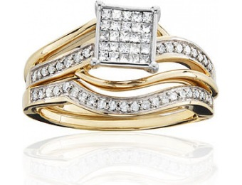 75% off Women's 10K Yellow Gold 1/2 Cttw Certified Diamond Square Bridal Set