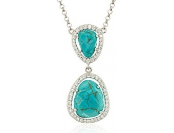 84% off Sterling Silver Genuine Dyed Turquoise Howlite and Cubic Zirconia Necklace