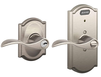 80% off Schlage Satin Nickel Keyed Entry Lever with Built-In Alarm