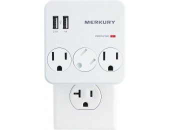 50% off 3 AC Outlet and 2 USB 3.1 Amp Wall Surge Protector