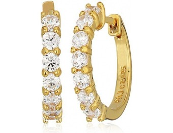 87% off 18K Gold Plated Sterling Silver CZ Huggie Hoop Earrings