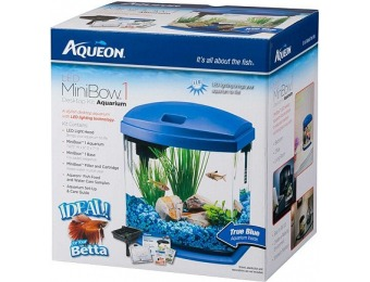 50% off Aqueon MiniBow Blue LED Desktop Fish Aquarium Kit
