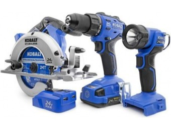 50% off Kobalt 4-Tool 24V Lithium Ion Cordless Combo Kit KSP 6524A-03