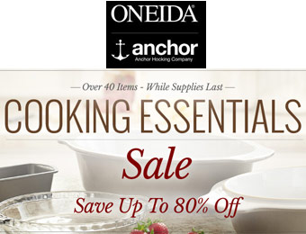 Up to 80% off Oneida & Anchor Hocking Cooking Essentials