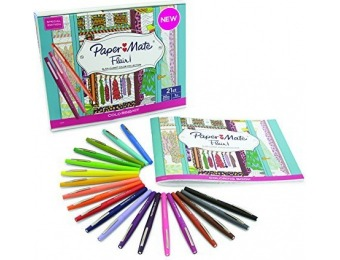 62% off Paper Mate Flair Felt Tip Pens with Adult Coloring Book