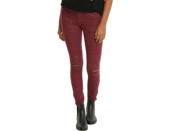 67% off Faded Burgundy Destructed Skinny Jeans