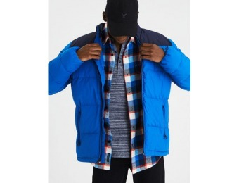 87% off AE Colorblock Mock Neck Puffer Jacket