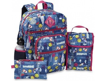 69% off Emoji Girls' Backpack, Lunch Bag, Pencil Case & Water Bottle