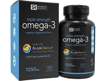 40% off Omega-3 Fish Oil 1250mg Triple Strength, IFOS 5 Star Certified