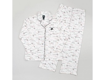 75% off Laura Ashley Long Sleeve Holiday Script Pajama Set