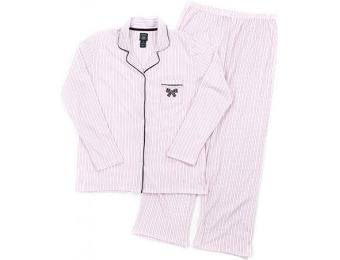 75% off Laura Ashley Long Sleeve Striped Notched Collar Pajama Set