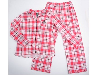 75% off Laura Ashley Long Sleeve Notch Collar Plaid Pajama Set