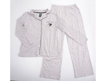 75% off Laura Ashley Long Sleeve Heart Stripe Pajama Set