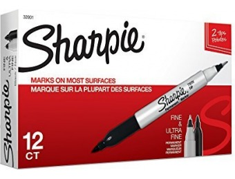 73% off Sharpie Twin Tip Permanent Markers, Black, 12 Count